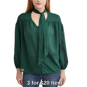 Long Sleeve Tie Neck Blouse | Green